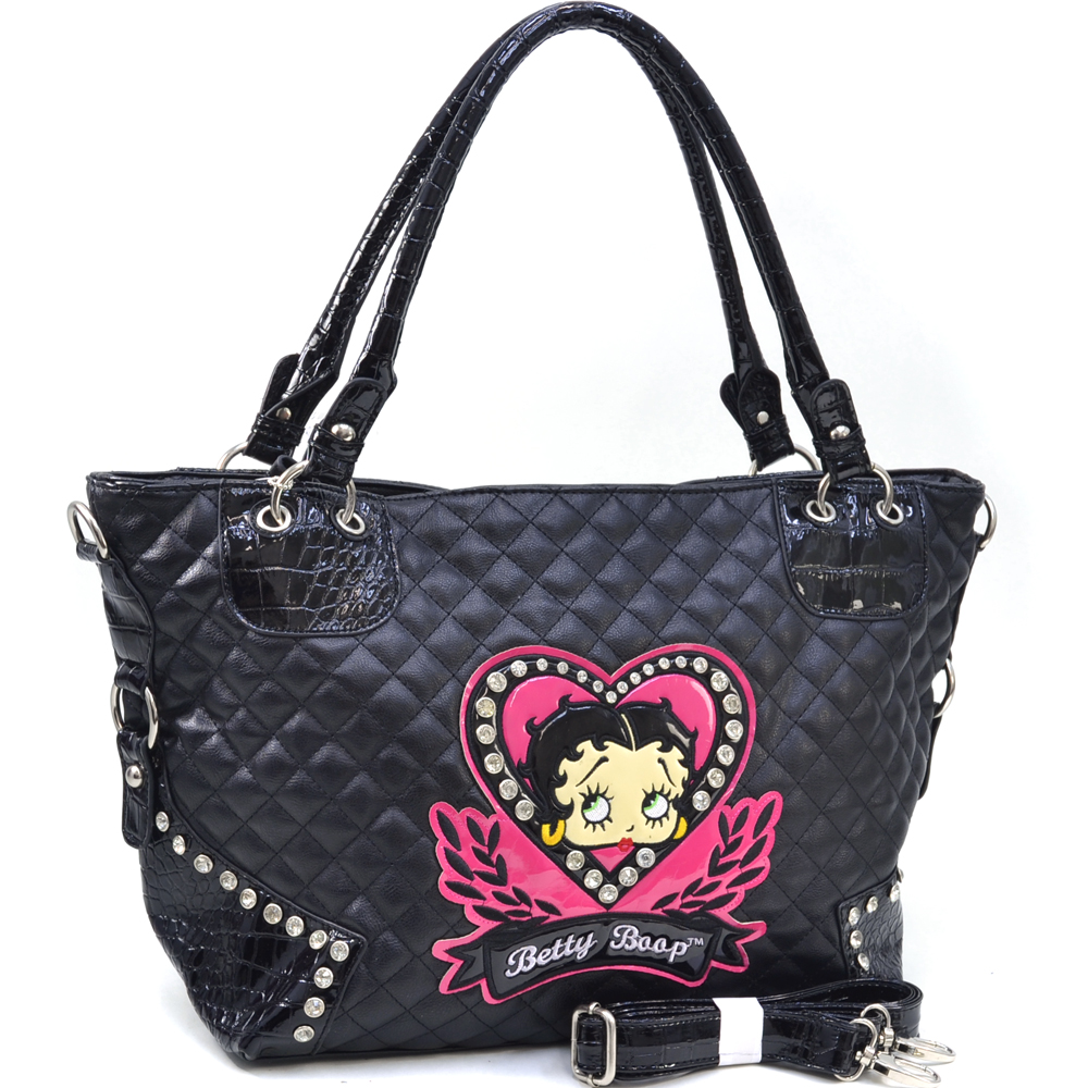Betty Boop® I-Heart-Betty Quilted Croco Trim Tote