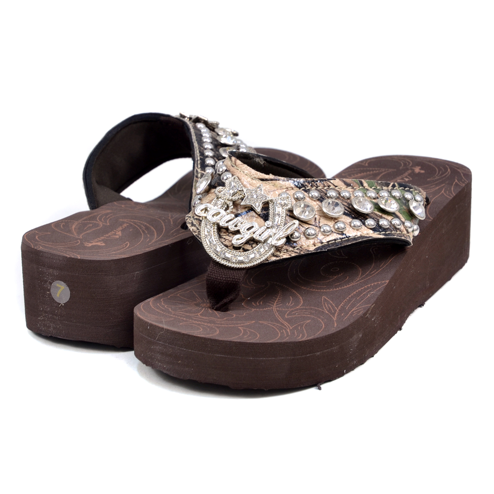 Montana West Summer Camouflage Style Sandals with Cowgirl Signature Design