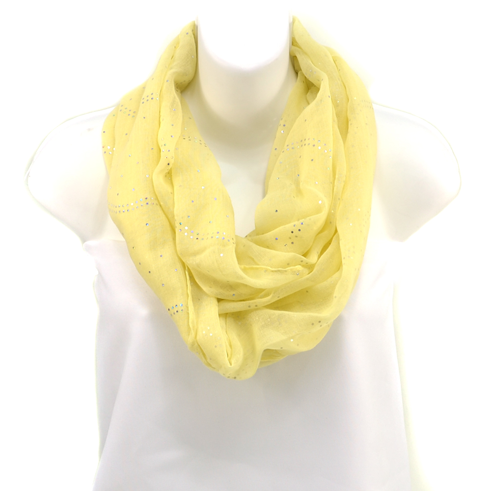 Women's Sheer Loop Scarf with Glistening Accents - Yellow