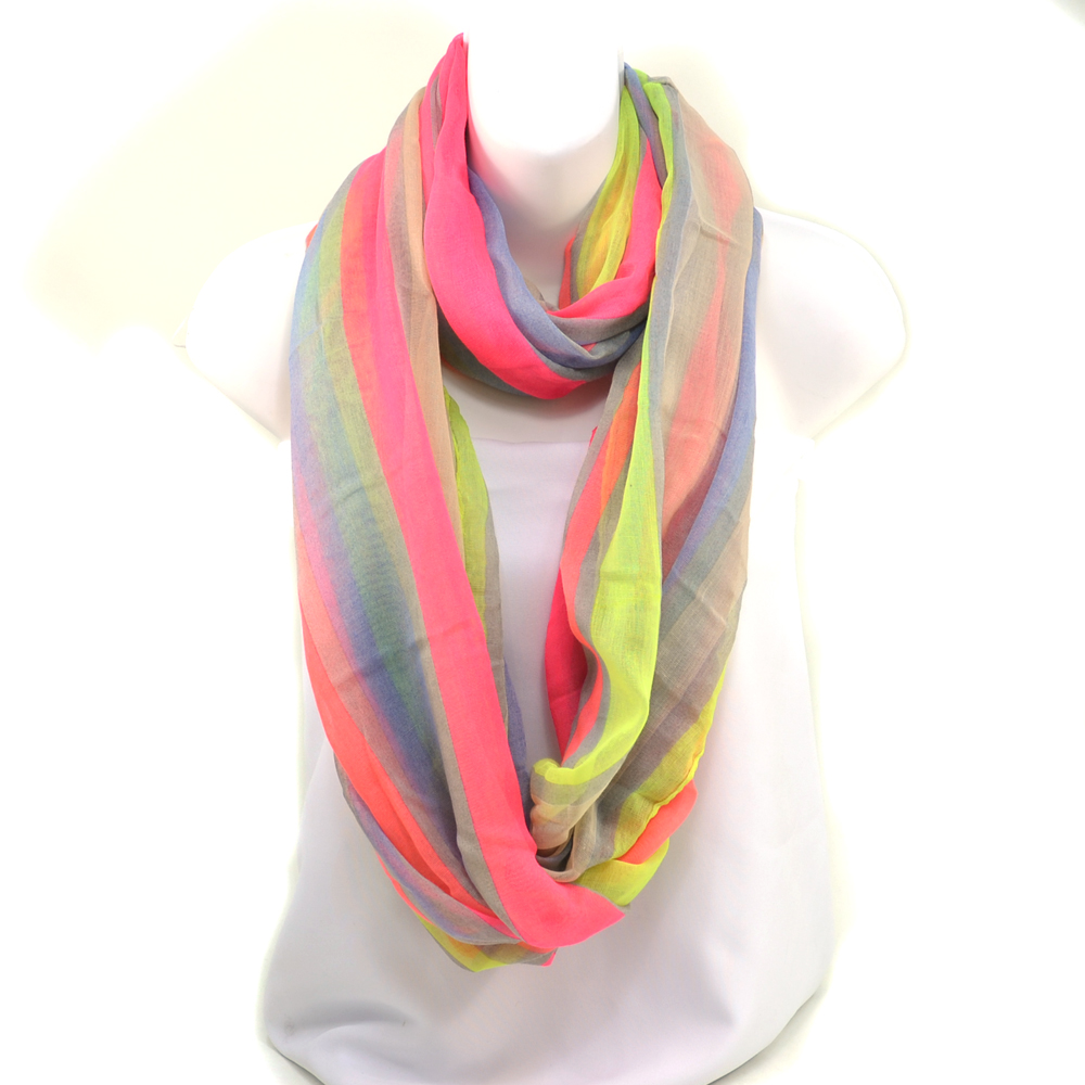 Multicolored Neon Striped Loop Scarf