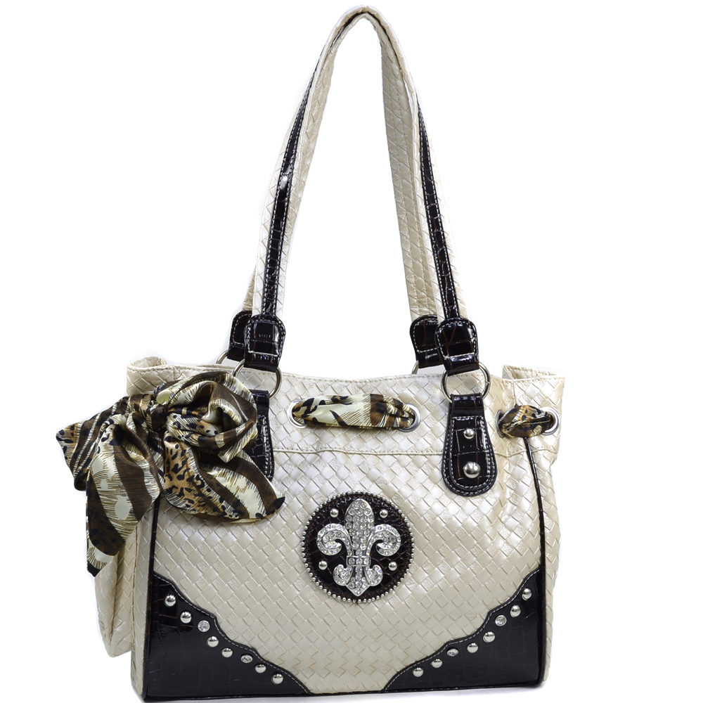Women's Safari Infused Fleur de Lis Rhinestone Accented Shoulder Bag with Woven Texture - Beige