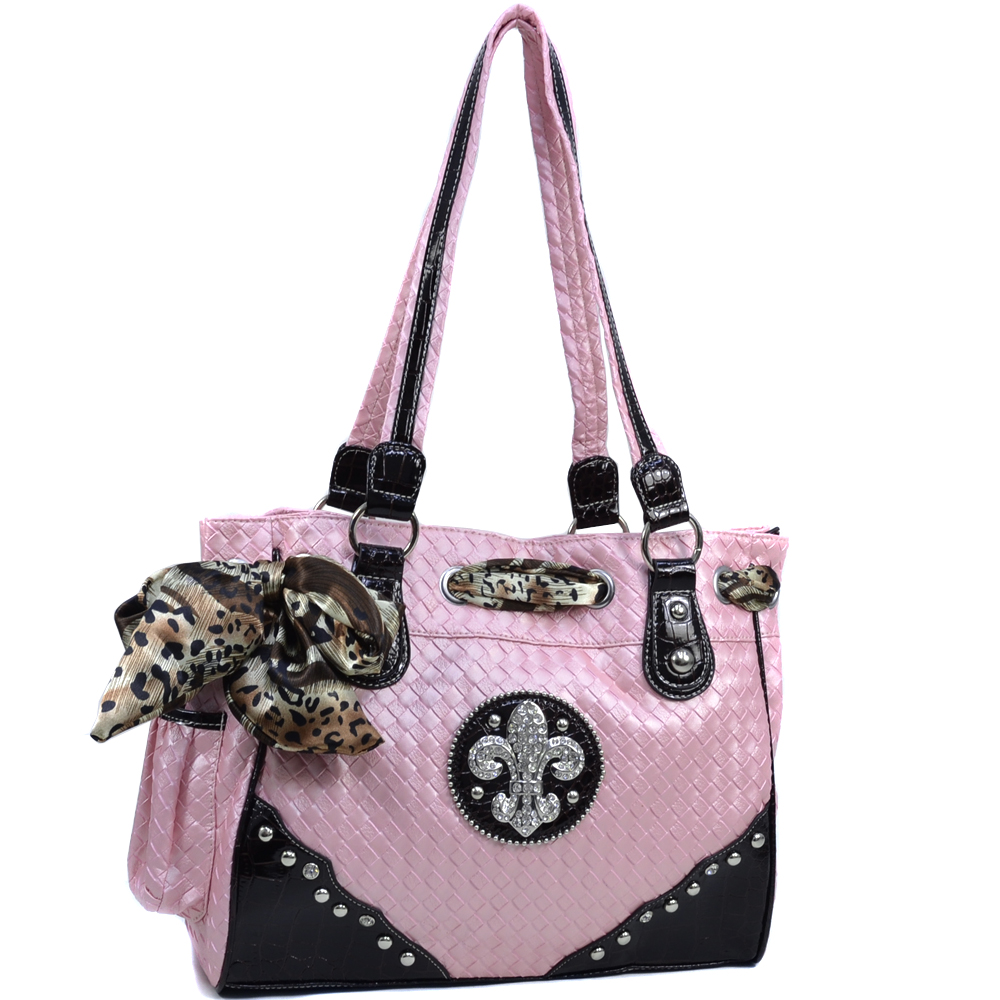 Women's Safari Infused Fleur de Lis Rhinestone Accented Shoulder Bag with Woven Texture - Pink
