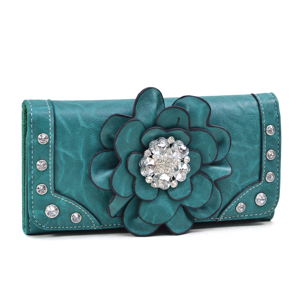 Women's Rhinestone Floral Adorned Checkbook Wallet - Black
