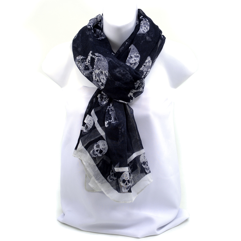 Dasein Women's Sheer Paisley Skull Printed Fashion Scarf - Black/White