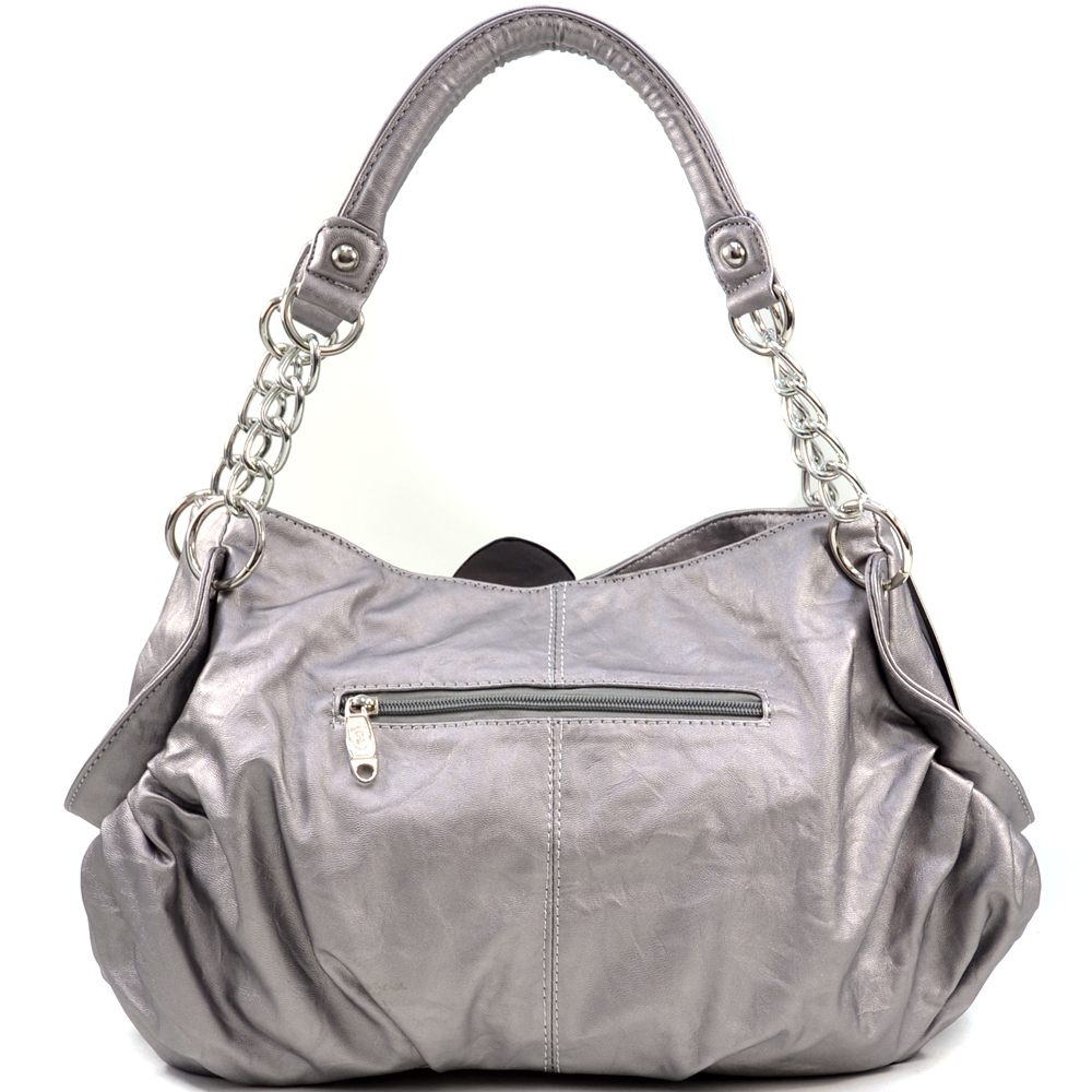Fashion Flower Patch Shoulder Bag w/ Rhinestone Accent - Pewter