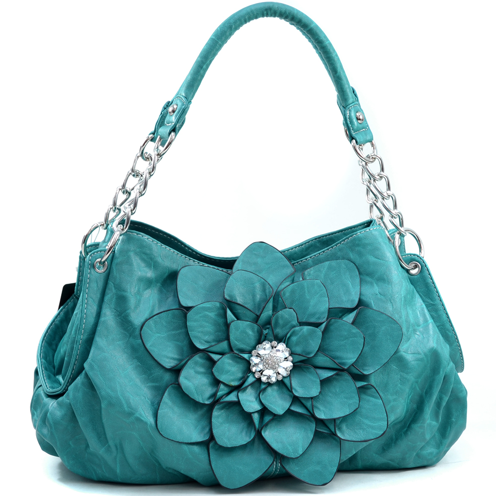 Fashion Flower Patch Shoulder Bag w/ Rhinestone Accent - Turquoise