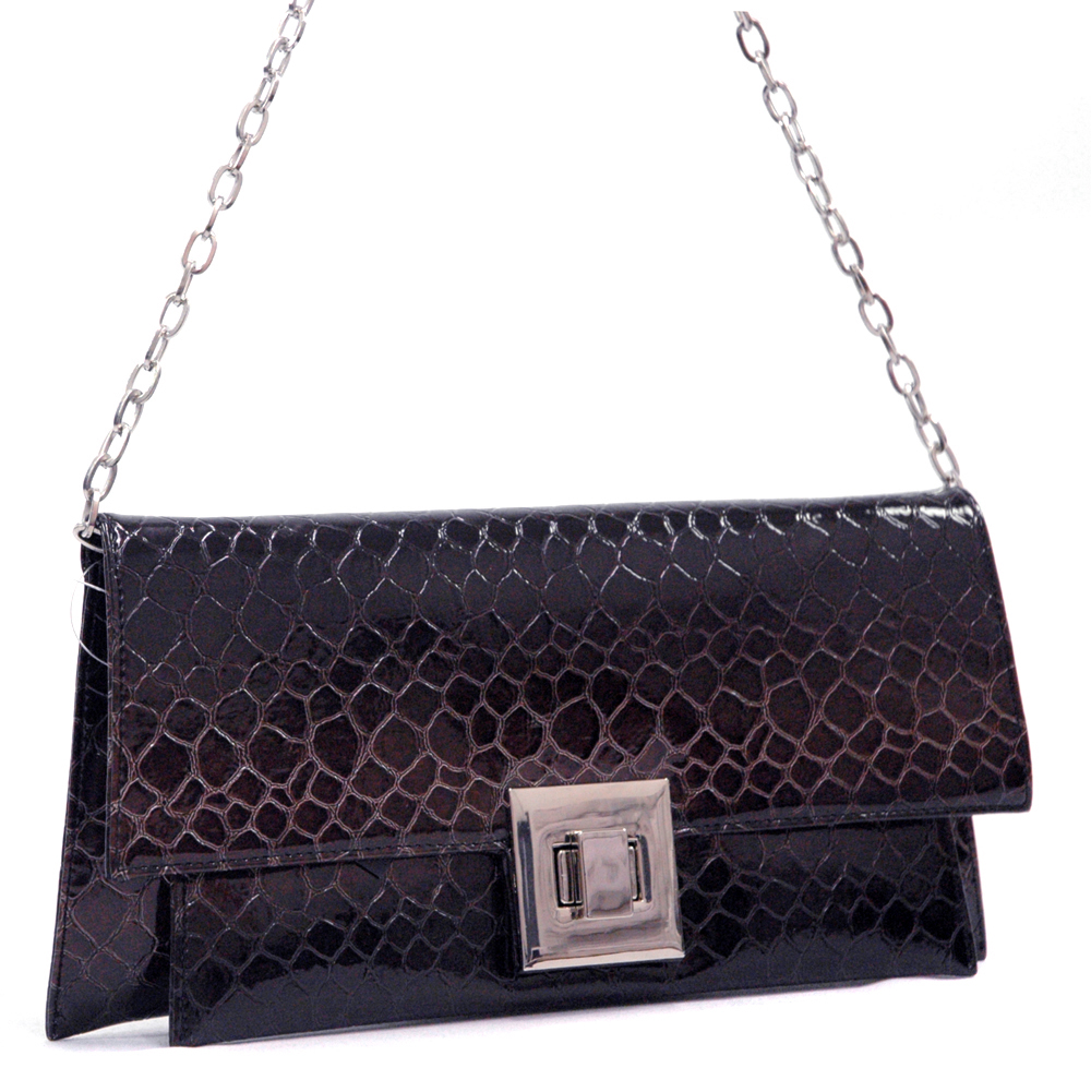 Dasein® Snakeskin Chain Handle Shoulder Bag