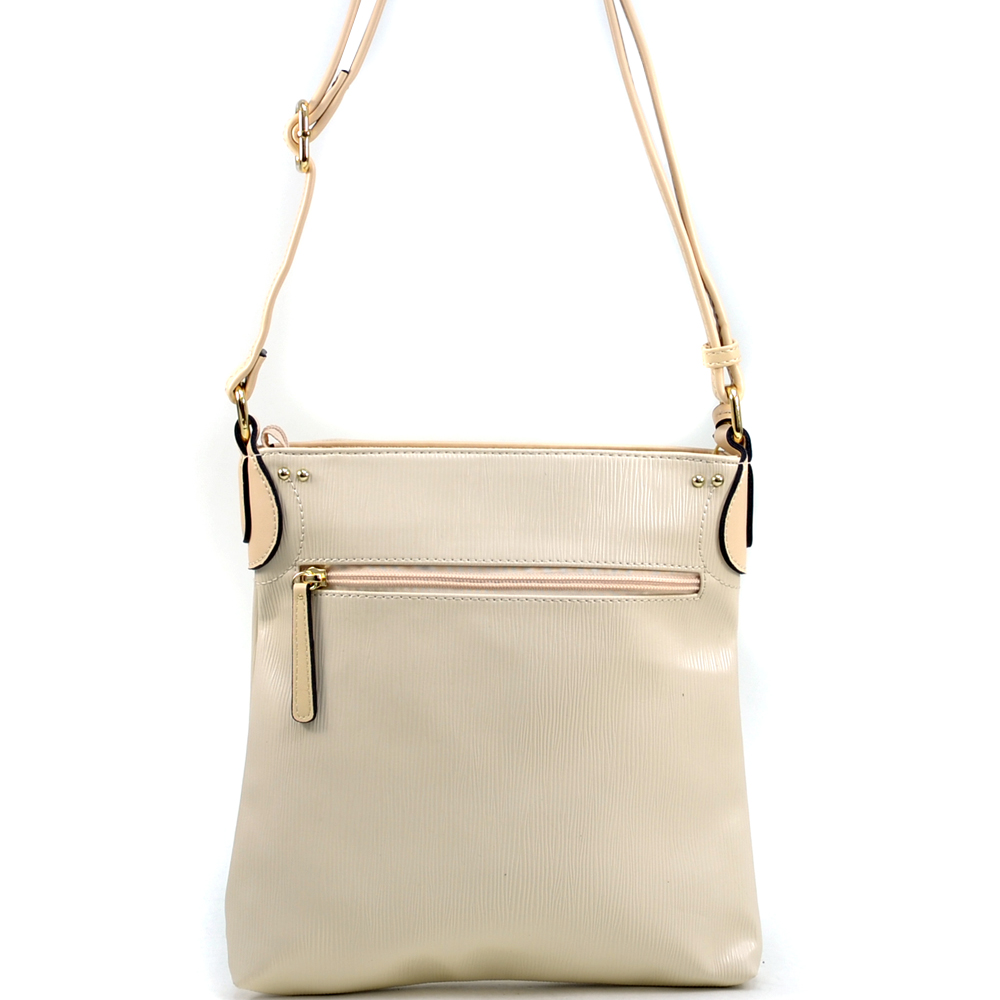 Lock Accent Faux Leather Crossbody Bag