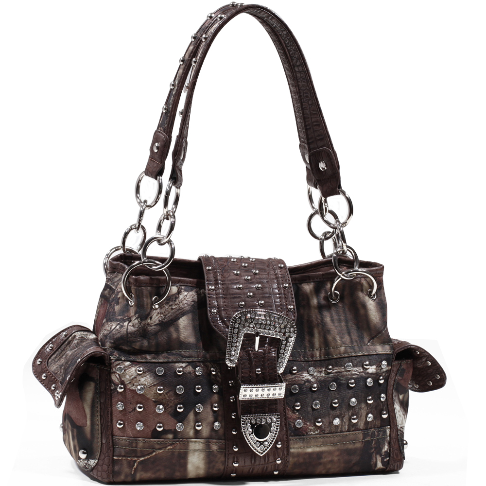 Mossy Oak® Infinity Camo Rhinestone Buckle Shoulder Bag