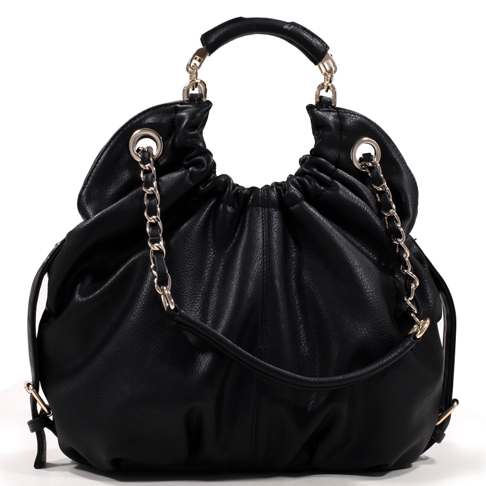 Women's Classic Belted Fashion Hobo Bag with Interchangeable Chain Straps