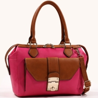Women's Two-Toned Sophisticated Fashion Satchel with Bonus Shoulder Strap - /Brown