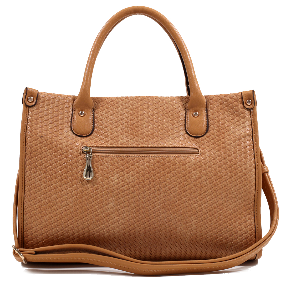 Women's Briefcase Style Tote w/ Woven Texture & Unique Buckle Accent