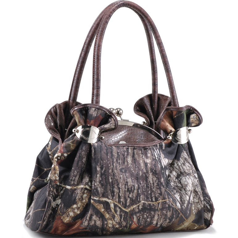 Mossy Oak ® Camouflage Satchel Bag with Croco Embossed Trim & Handles-Camouflage