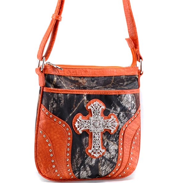 Mossy Oak® Trendy Camouflage Messenger Crossbody Bag with Rhinestone Cross-Camouflage