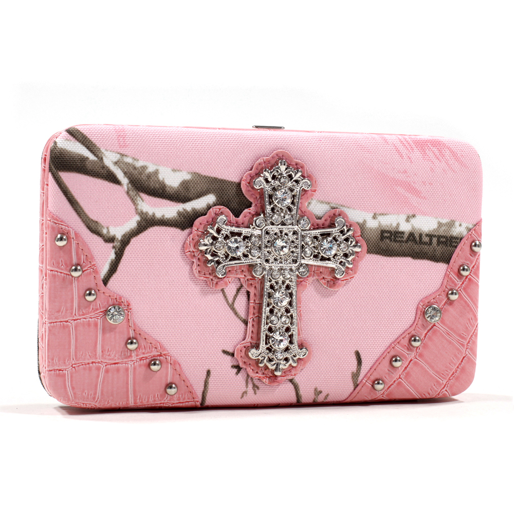 Realtree® AP Pink Camo Frame Wallet with Rhinestone Cross & Studded Croco Trim