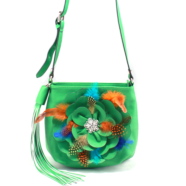 Alyssa Stylish Crossbody Bag with Floral Feather Accent & Rhinestone Ornament