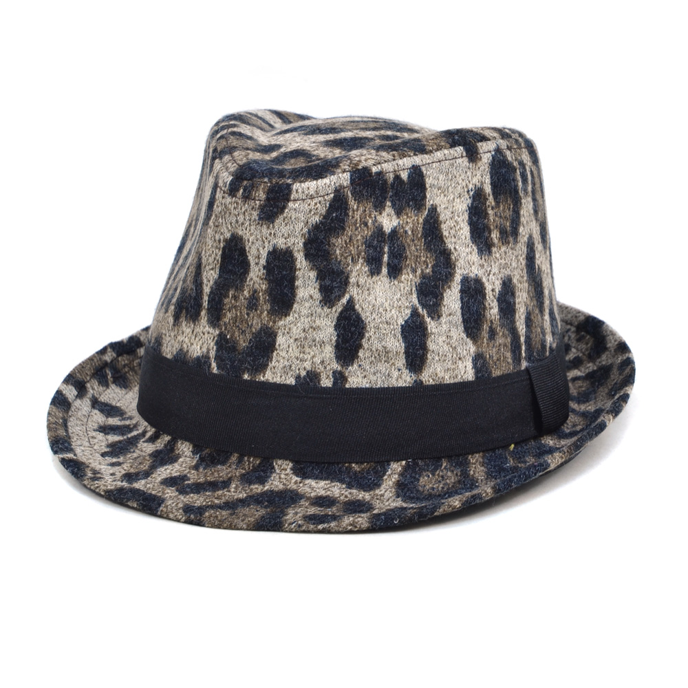 Women's Sassy Leopard Print Fedora Hat - Beige/Brown/Black