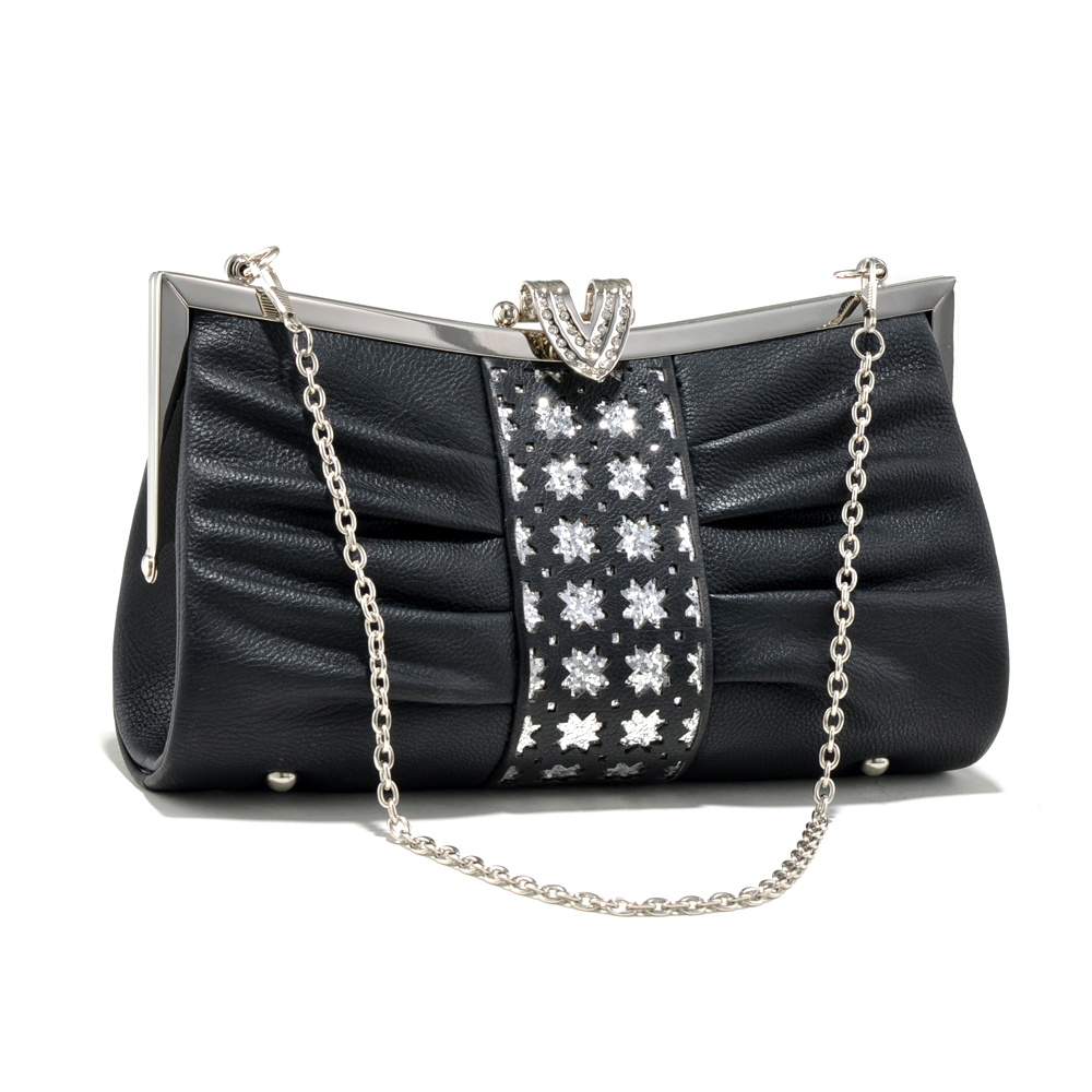 Pleated Rhinestone Clasp Evening Bag with Center Cut-Outs