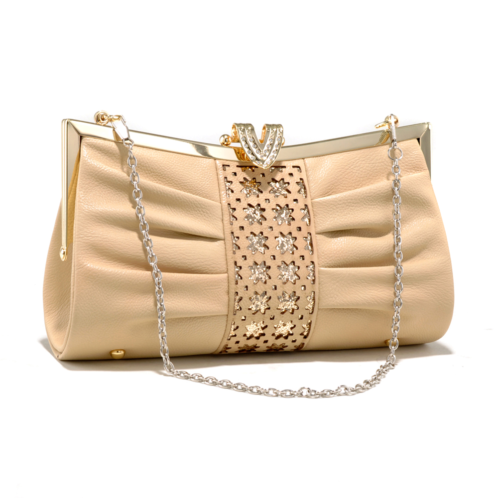 Elegant Pleated Evening Clutch with Cutout and Sequins Design