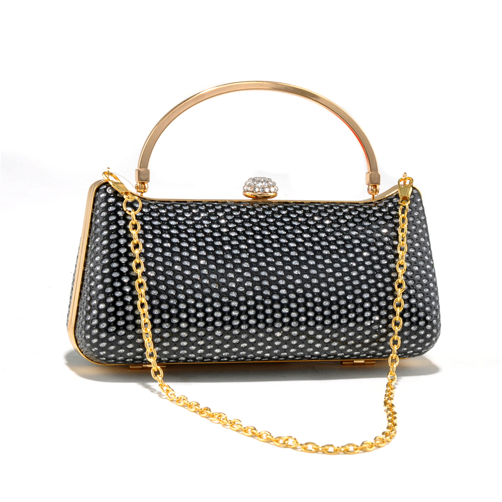 Mesh Design Sequin & Rhinestone Clutch