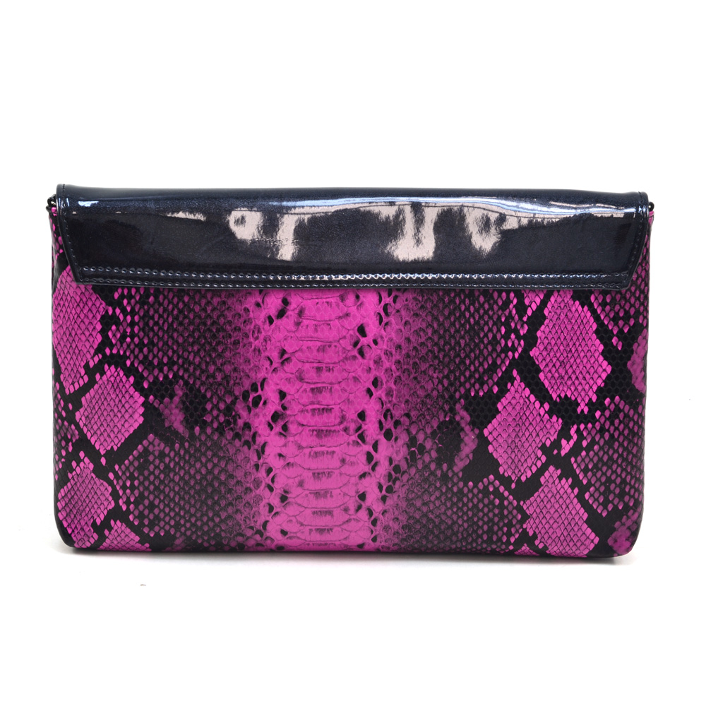 Python Skin Convertible Clutch/Shoulder Bag