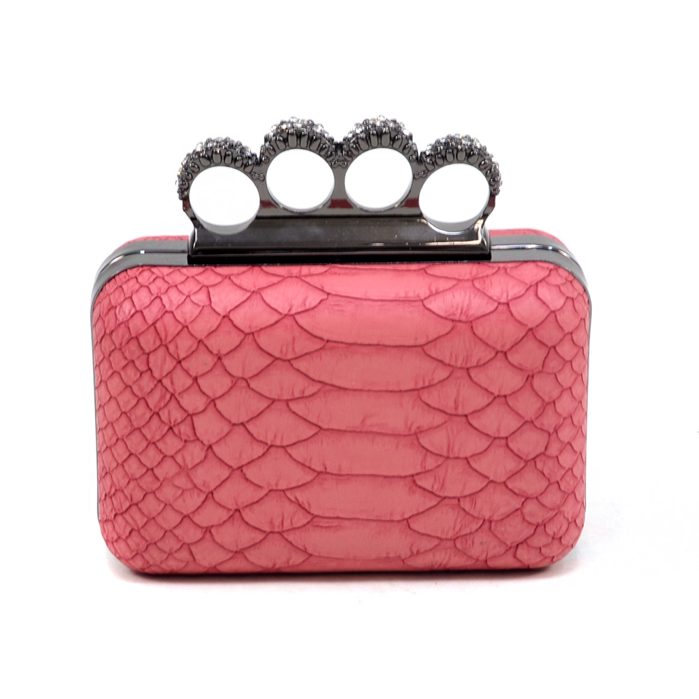 Petite Snakeskin Evening Bag with Knuckle Ring Handle