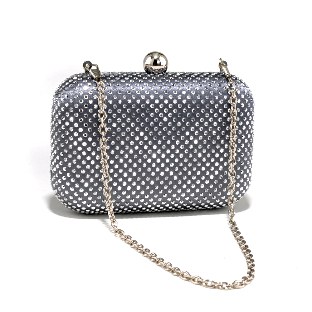 Chevron Design Rhinestone Clutch