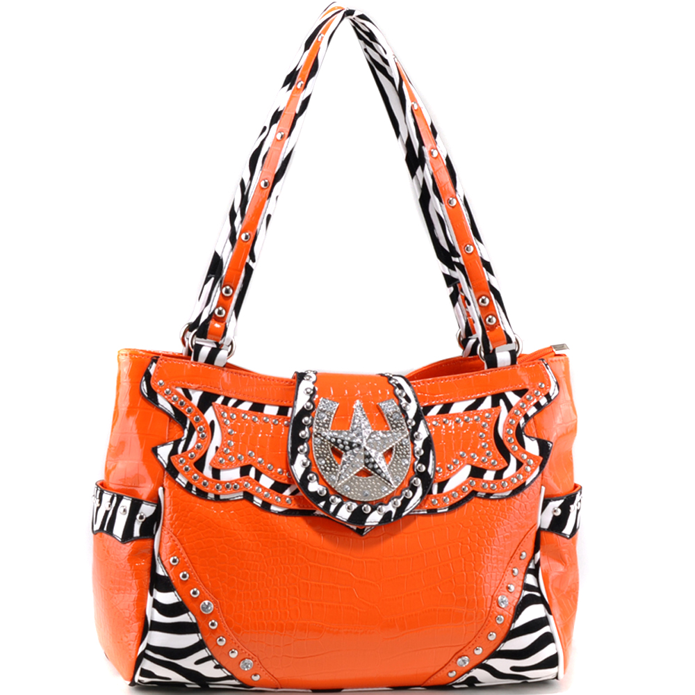 Studded Zebra Print & Croco Shoulder Bag with Rhinestone Star Accent