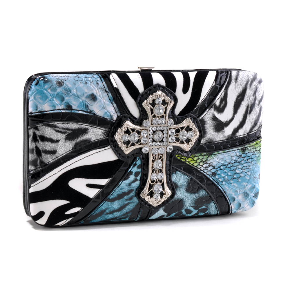 Safari Inspired Frame Wallet with Cross Accent and Mixed Animal Prints - /Blue