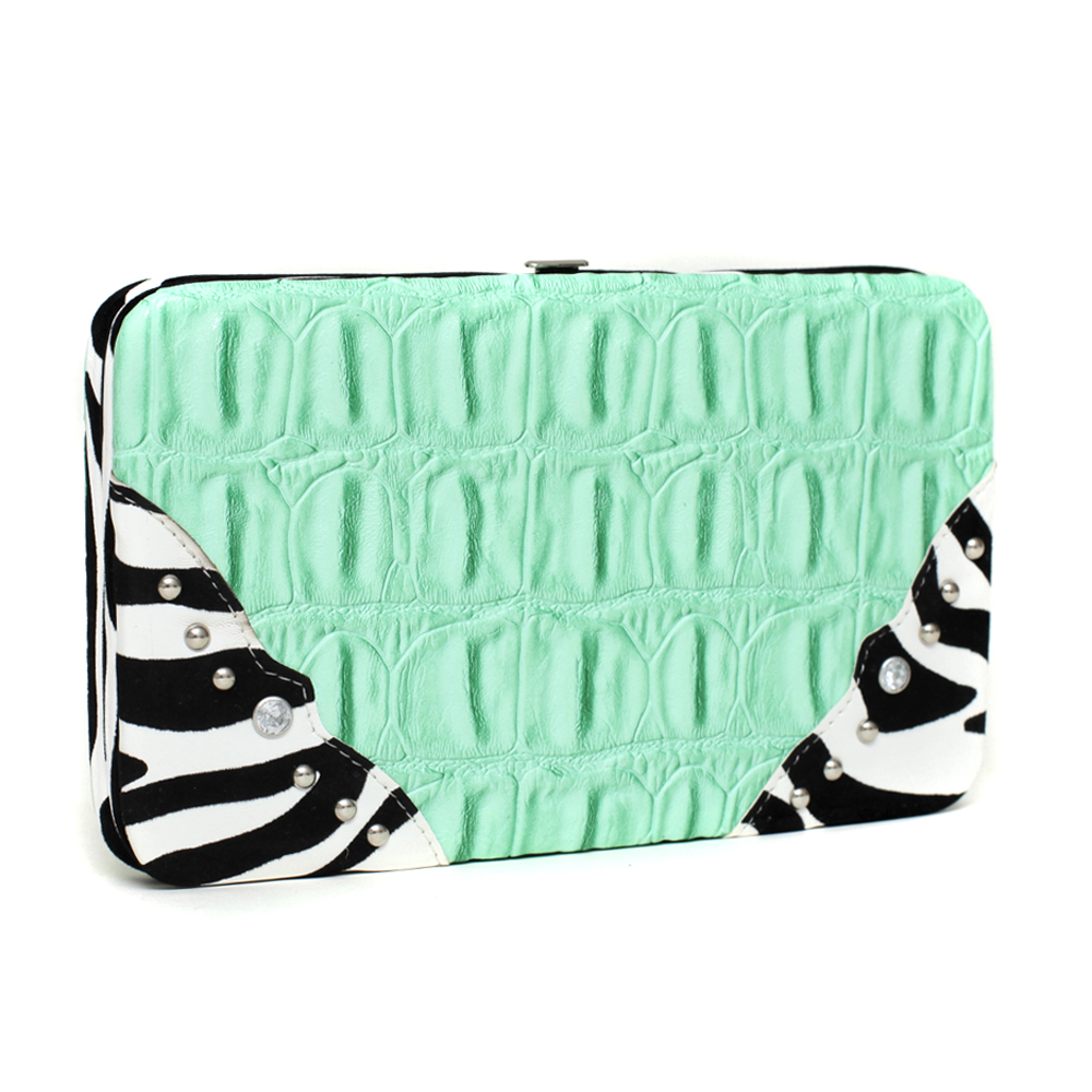 Western Croco Textured Frame Wallet with Zebra Trim