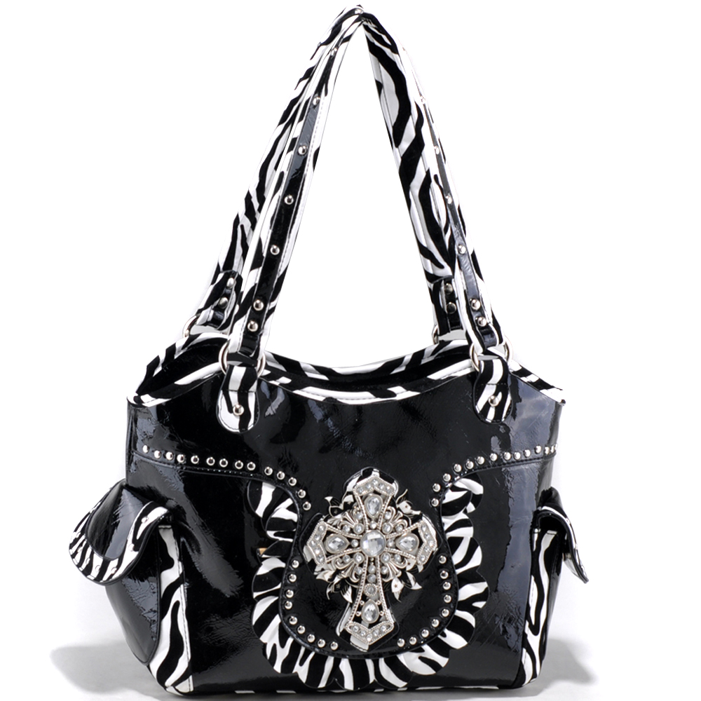 Studded Zebra Print Shoulder Bag with Rhinestone Cross Accent - Black
