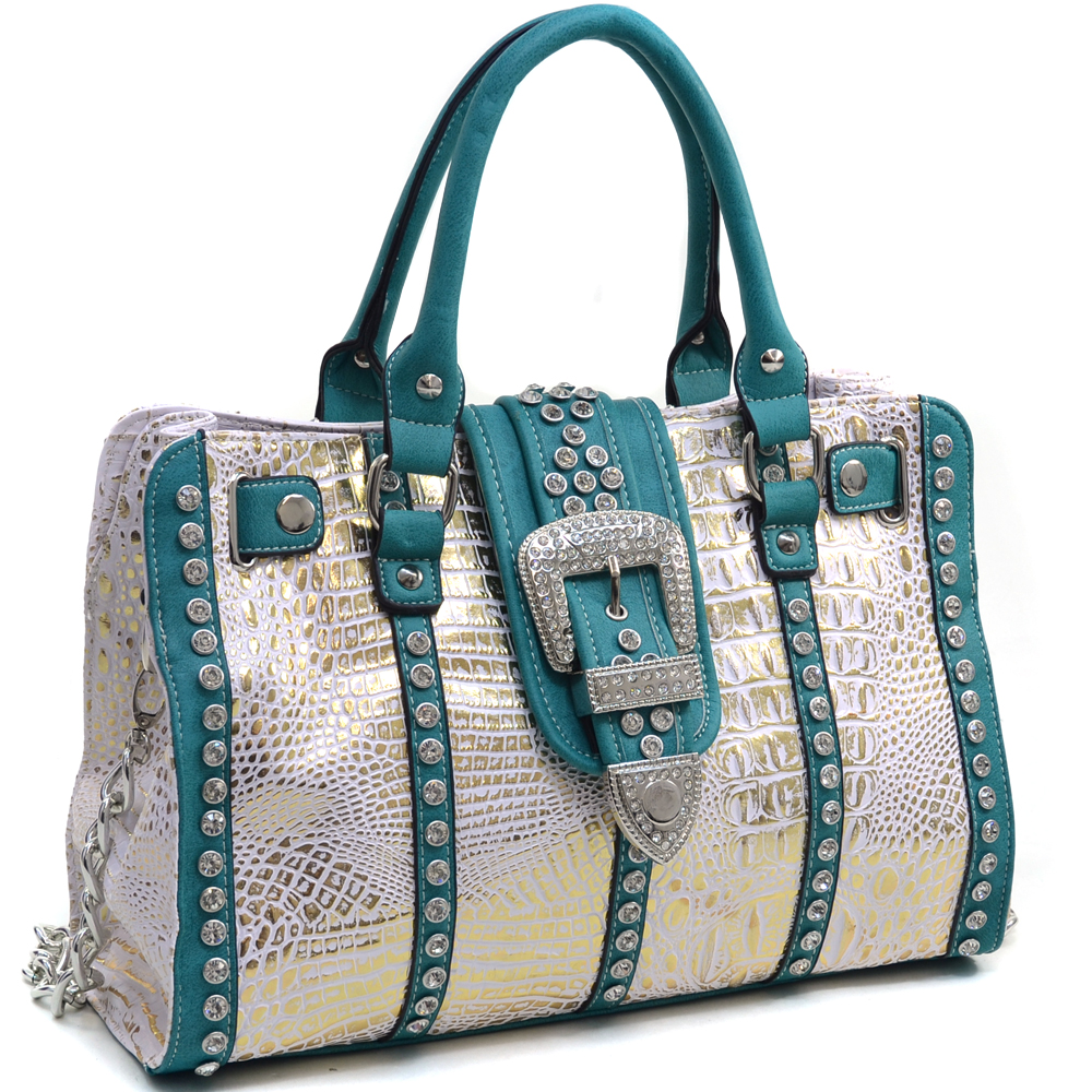 Women's Metallic Croco Satchel Bag