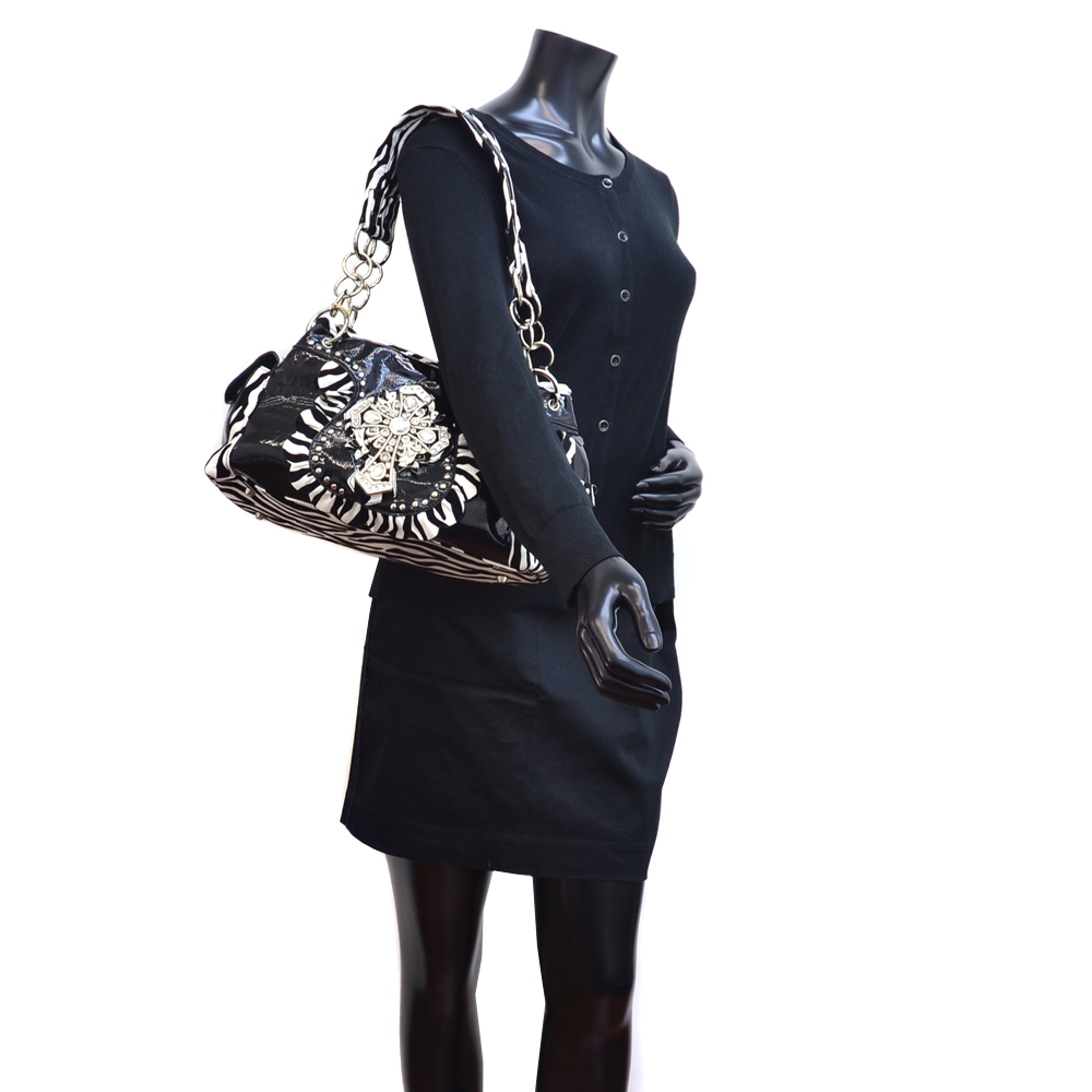 Women Studded Zebra Print Shoulder Bag with Rhinestone Cross Accent - Black