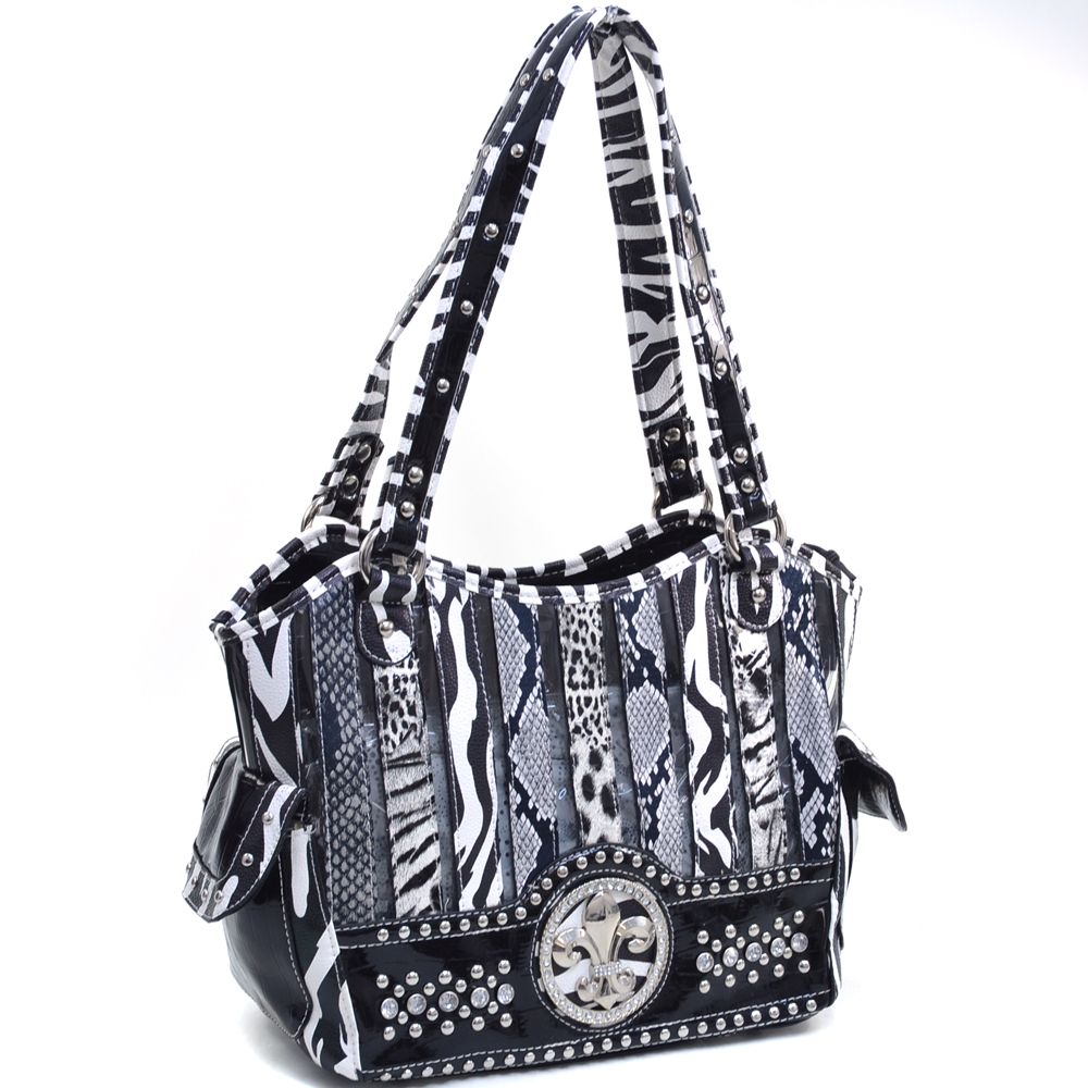 Dasein Women's Animal Print Shoulder Bag with Rhinestone Studs and Fleur de Lis Accent - Black