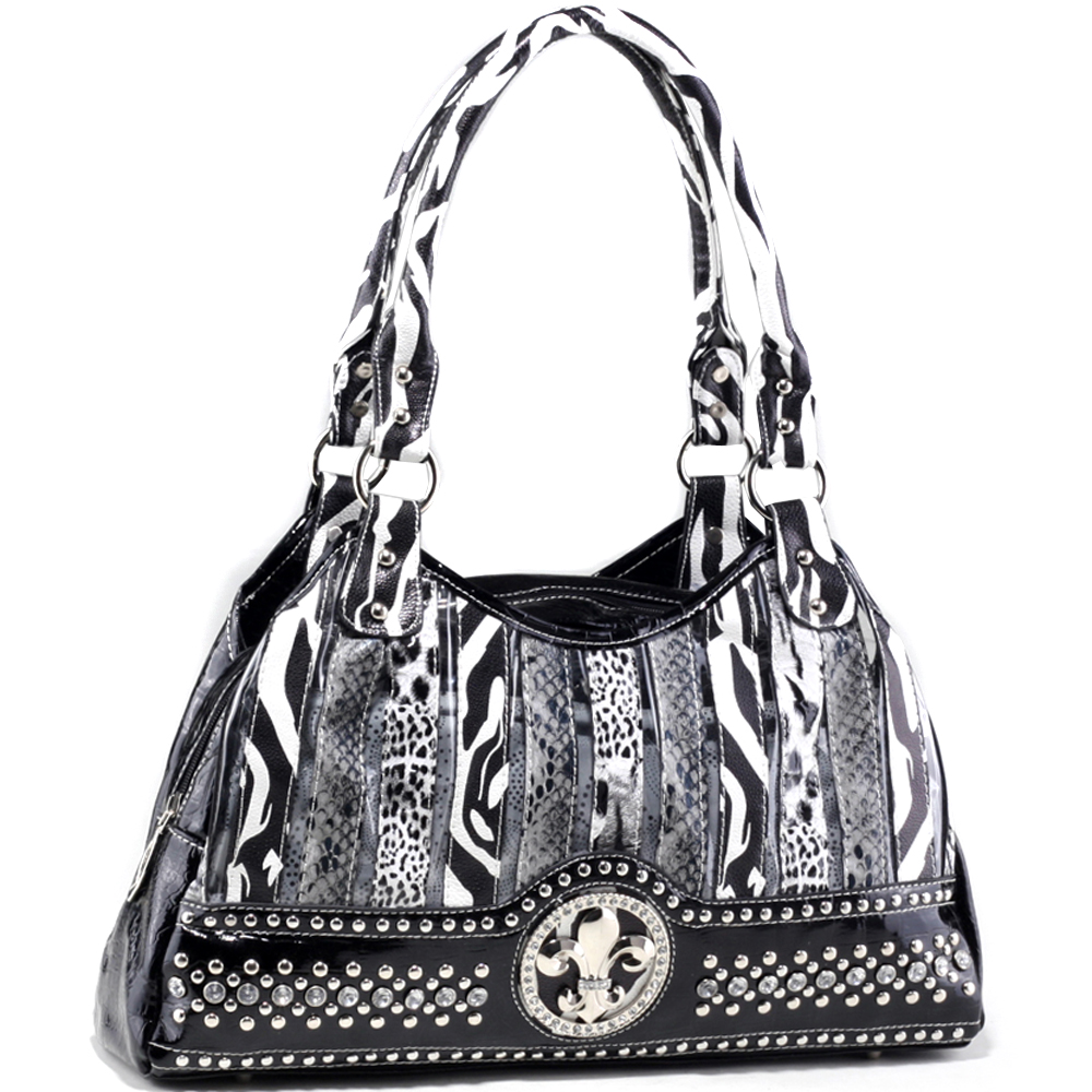Dasein Women's Animal Print Hobo Bag with Rhinestone Studs and Fleur de Lis Accent - Black