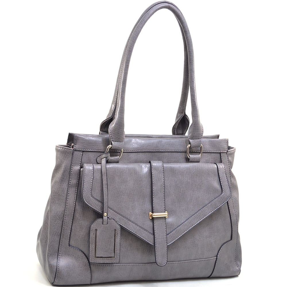Emperia Classic Chic Shoulder Bag with Large Front Pouch and Tassel Accent