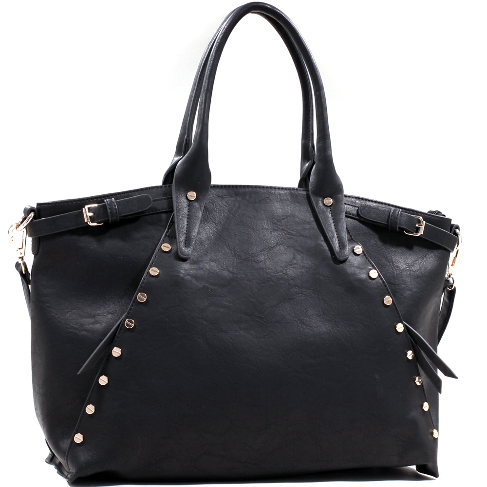 Emperia Belted Fashion Tote with Gold Tablet Studs - Black/Black