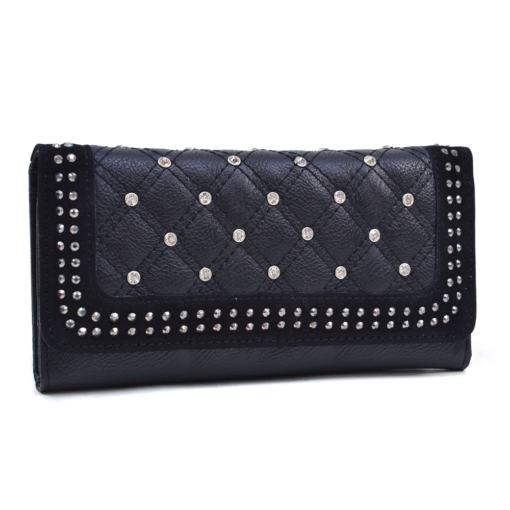U Style® Quilted Rhinestone Flap Wallet