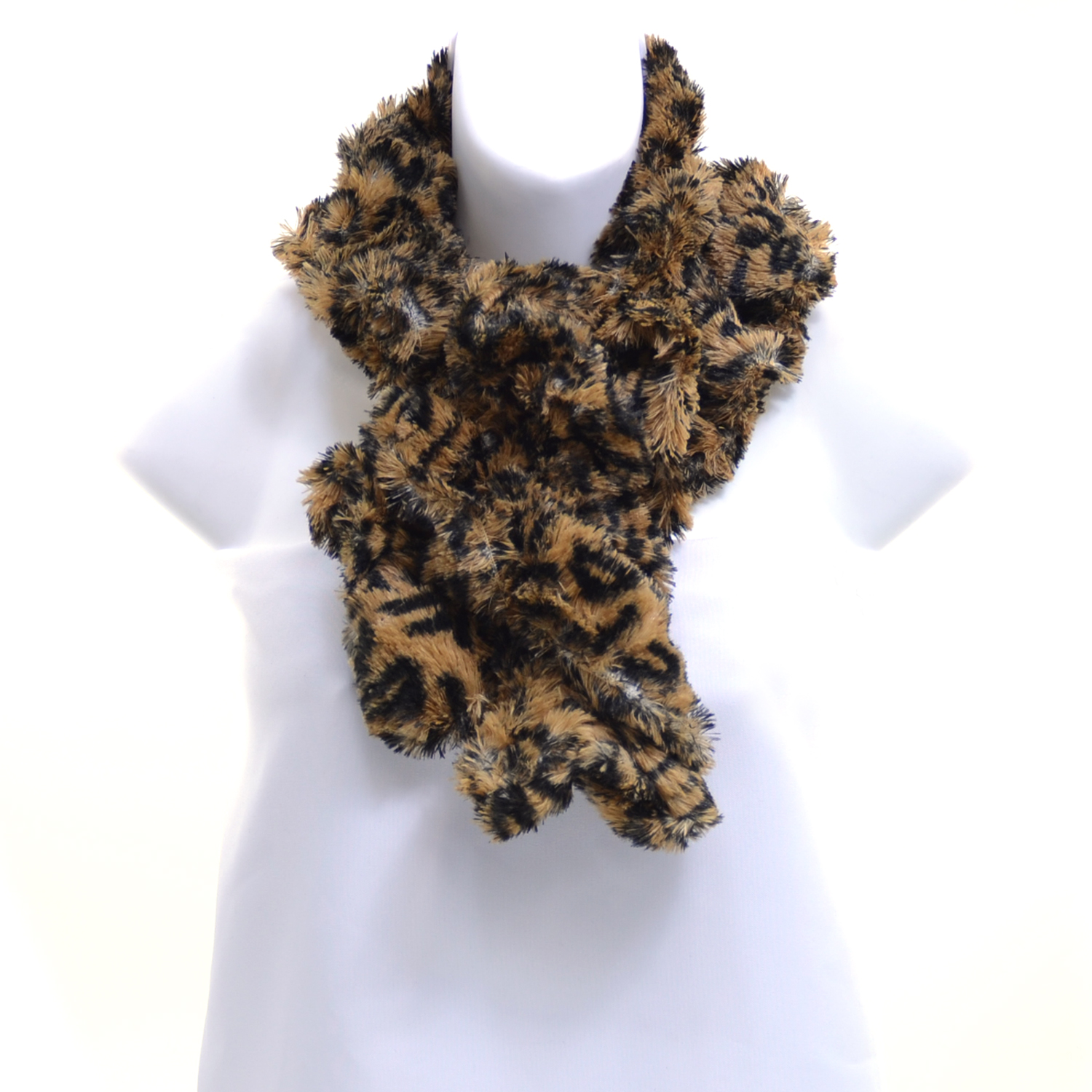 Leopard Design Faux Fur Boa Fashion Scarf - Brown/Black