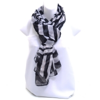 Women's Sheer Black and White Aymmetric Striped Fashion Scarf Variety Pack - White