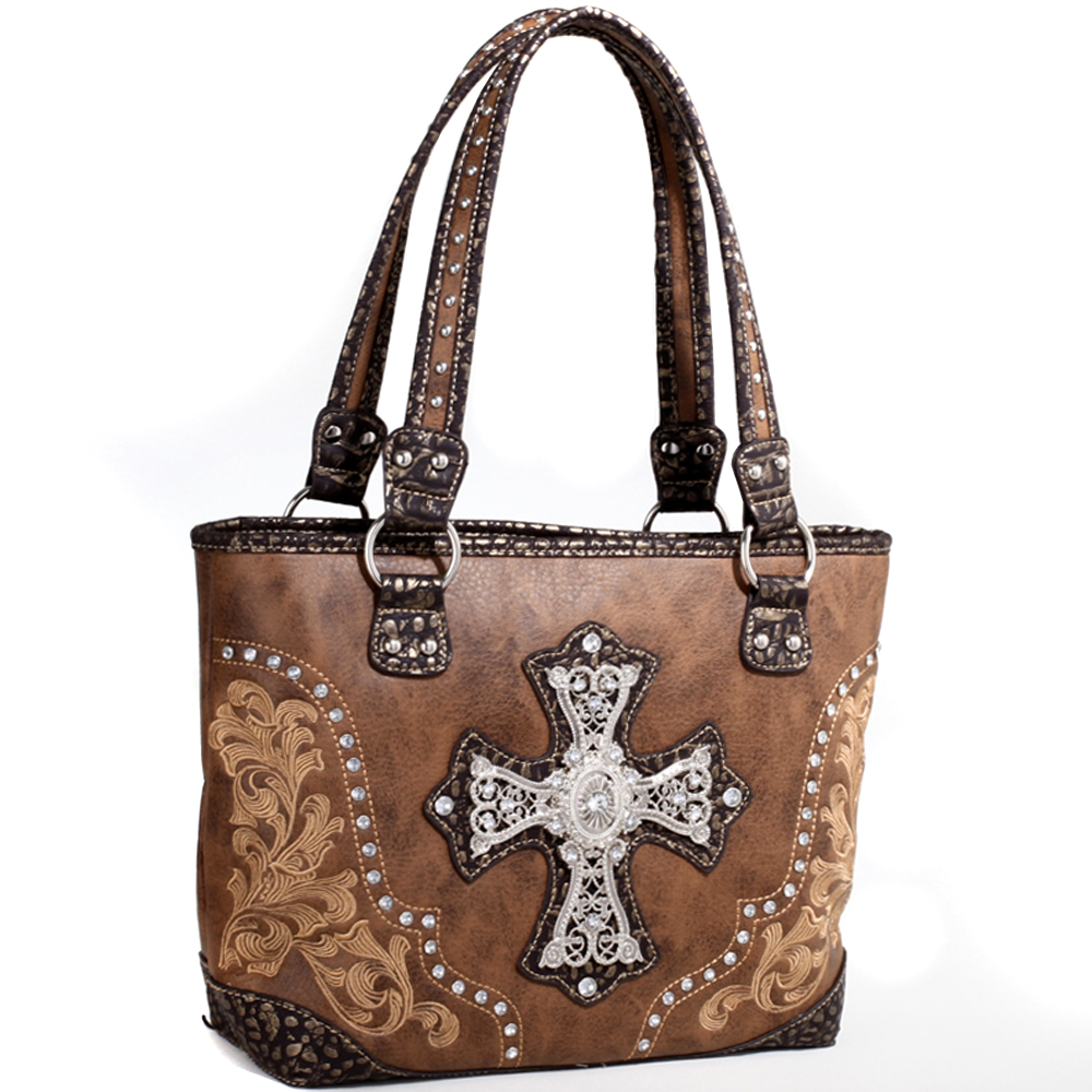 Rose of the Wild Bunch Rhinestone Cross Tote