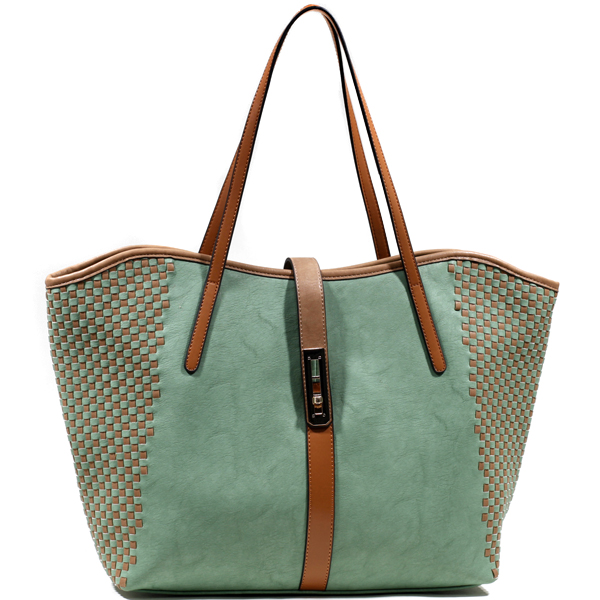 Emperia Semi Weave Fashion Tote with Twist Lock Closure - /Tan