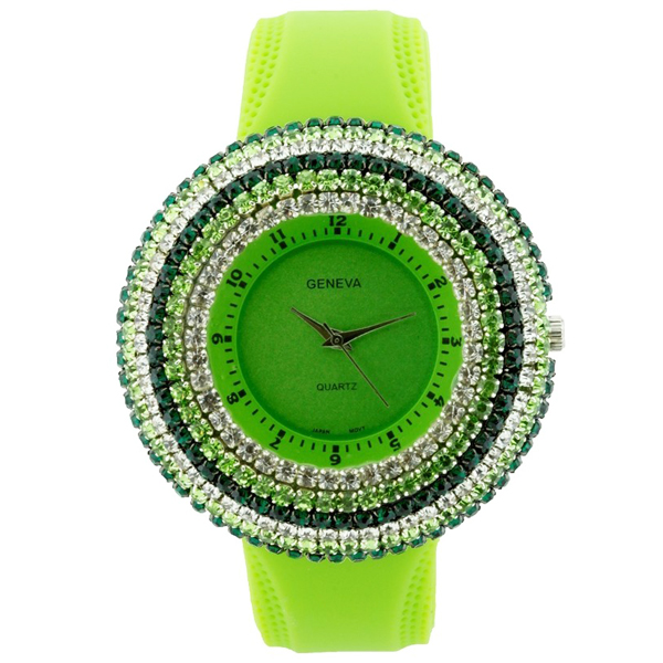 Rhinestone Face Watch w/ Stripe Design