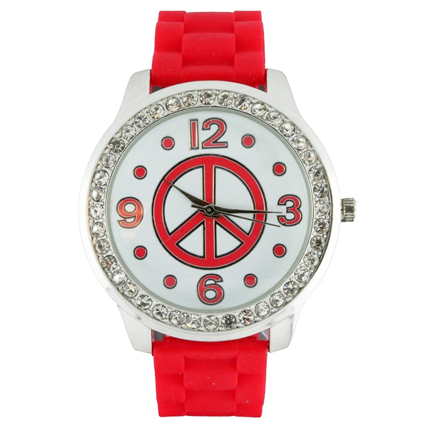 Round Face Silicone Watch with Peace Sign and Crystal Accents - Red