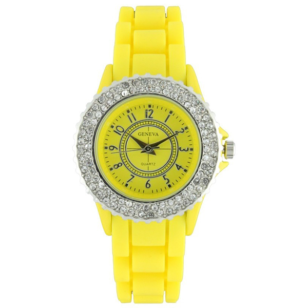 Classic Small Round Face Silicone Watch w/ Crystal Accents