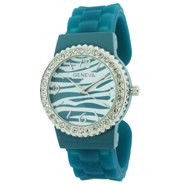 Crystal Embellished Bangle Style Watch with Zebra Print Design- Teal