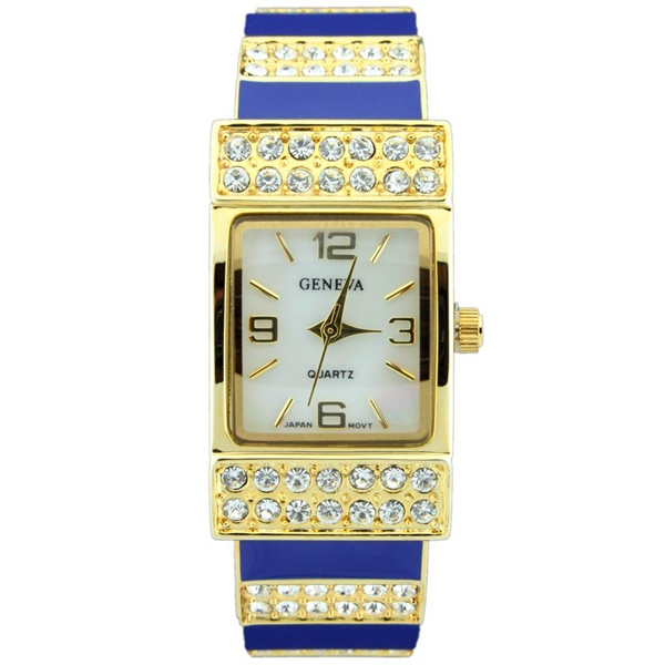 Classic Cuff Style Watch with Rhinestone Accents - Navy/Gold
