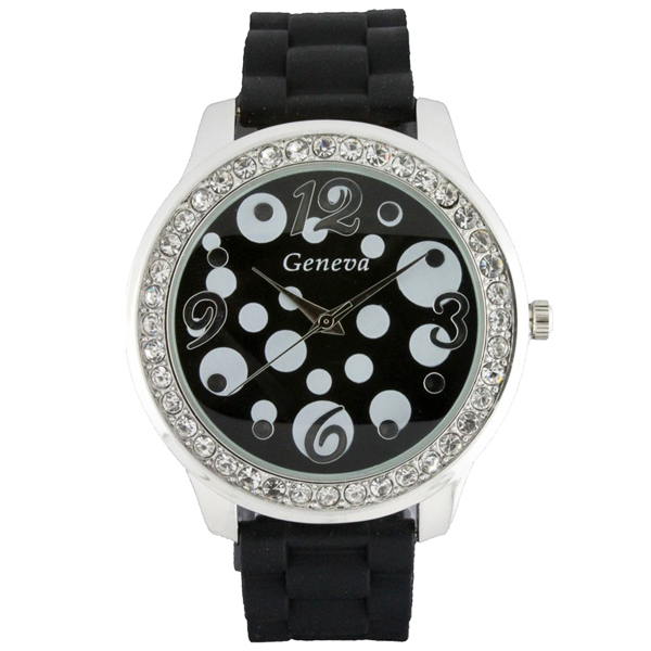 Round Face Silicone Watch with Polka Dots and Crystal Accents - Black