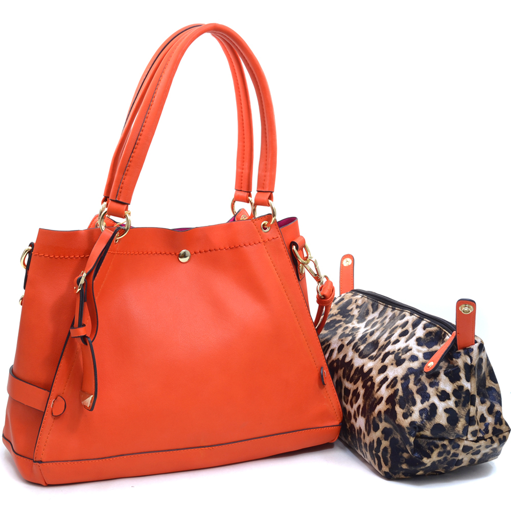 Women's 2-in-1 Fashion Satchel with Suede Interior and Bonus Leopard Pouch