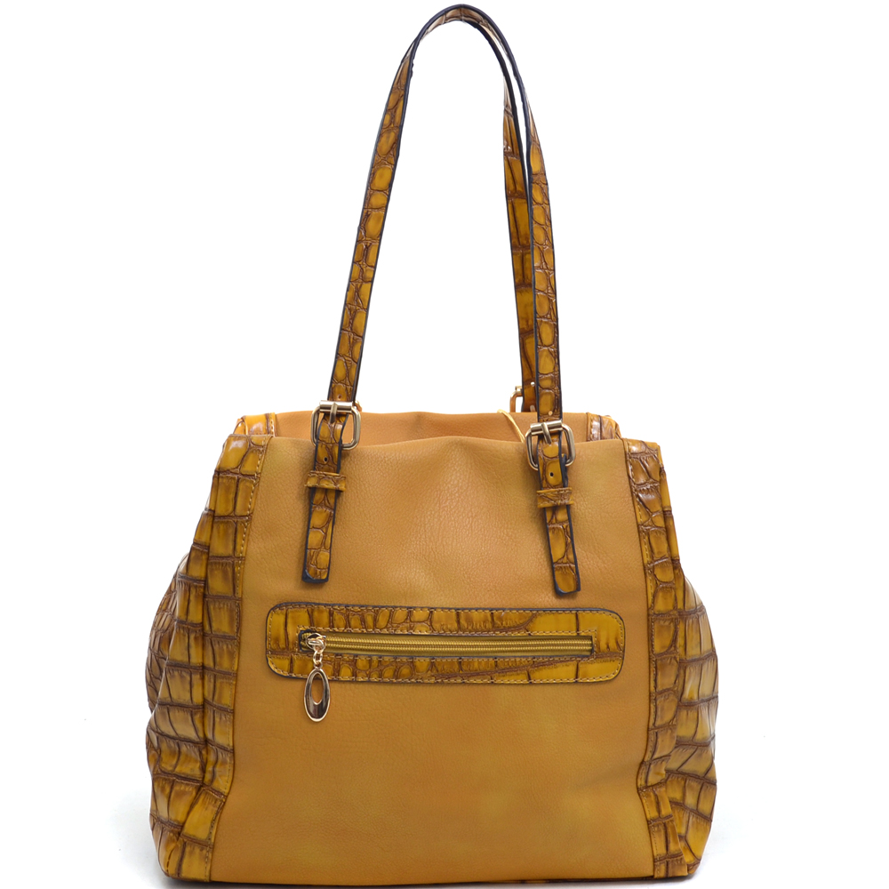 Women's Elegant Fashion Shoulder Bag with Gold Motif and Croco Trim
